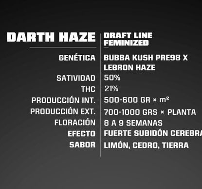 Description de graines de cannabis fèminisée Darth Haze